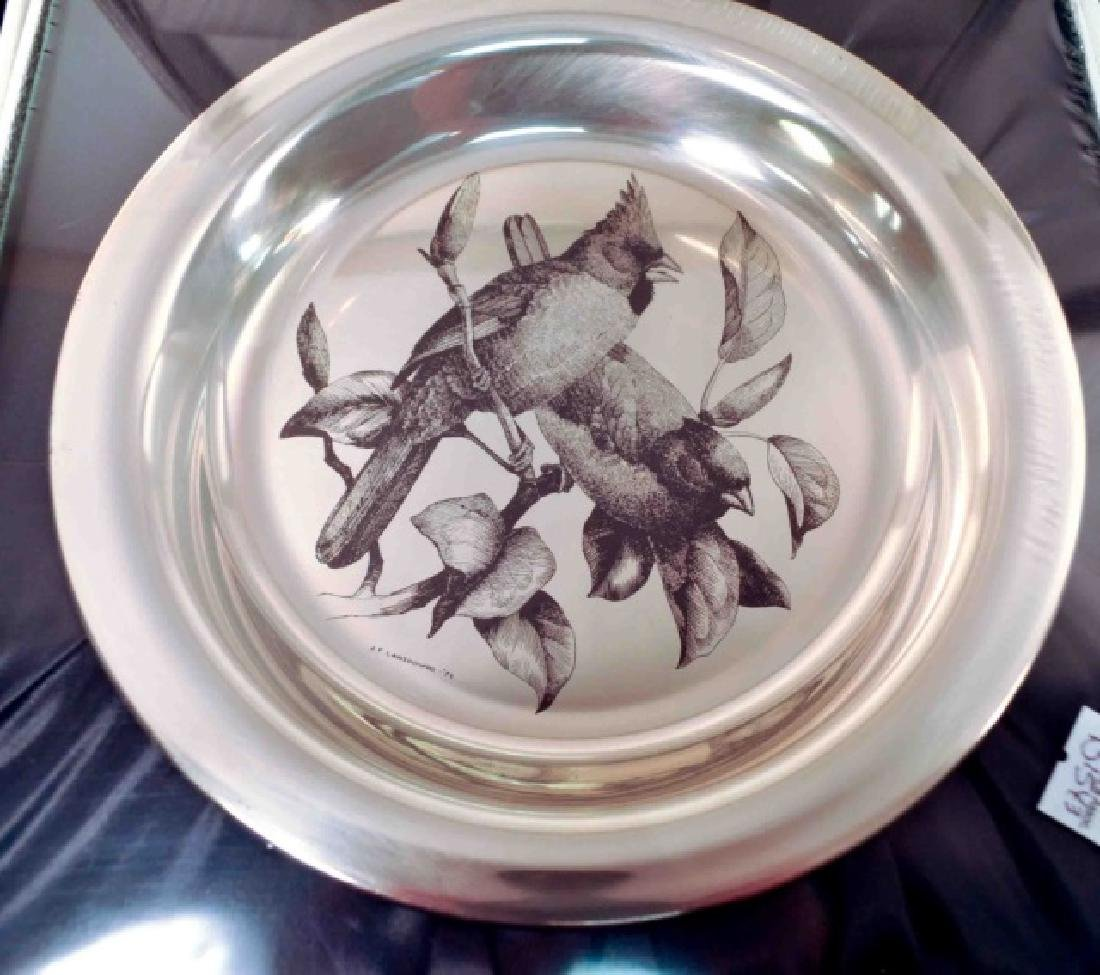 4 Sterling Silver Authentic Audubon Society Plates - 4