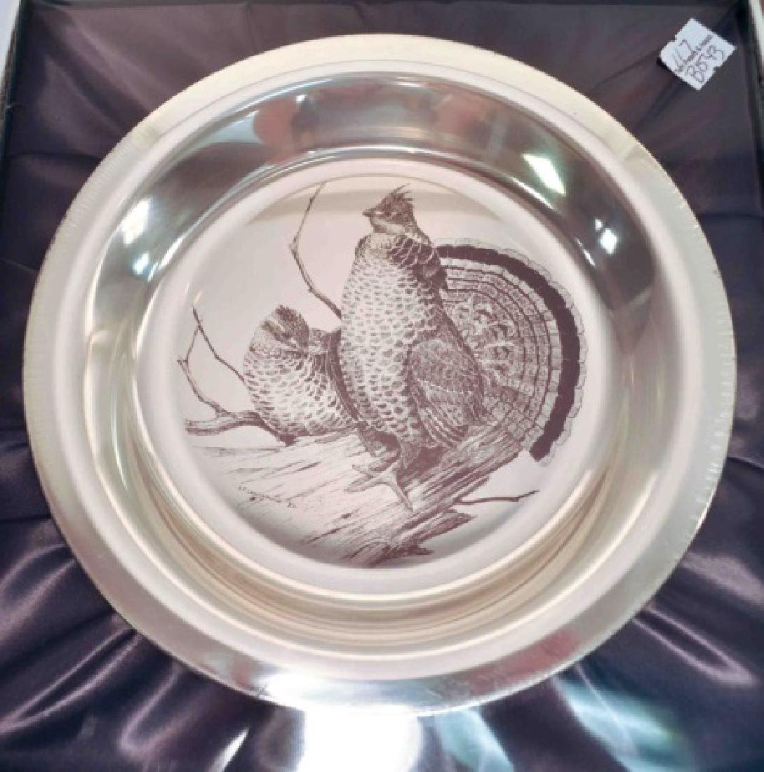 4 Sterling Silver Authentic Audubon Society Plates - 5
