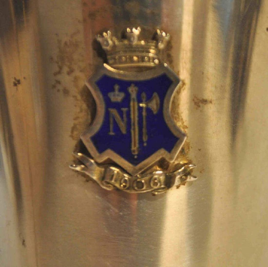 Antique Swedish Sterling Silver Cup w/Blue Crest - 2
