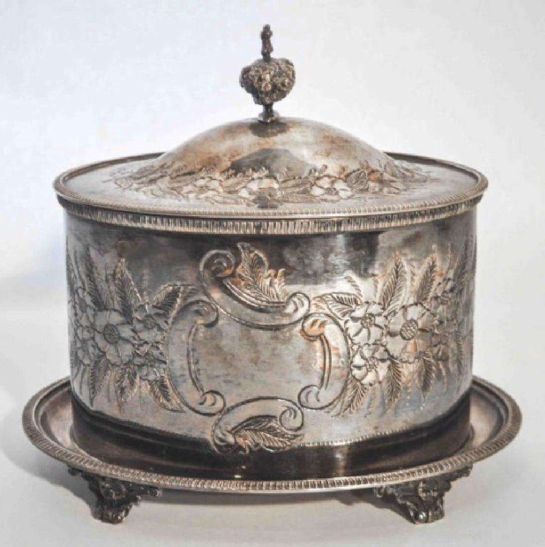 Victorian Antique Silver Plated Repousse Tea Caddy