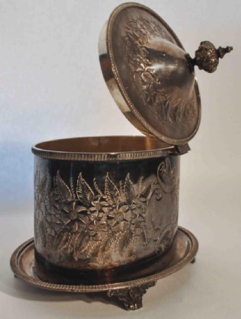 Victorian Antique Silver Plated Repousse Tea Caddy - 2