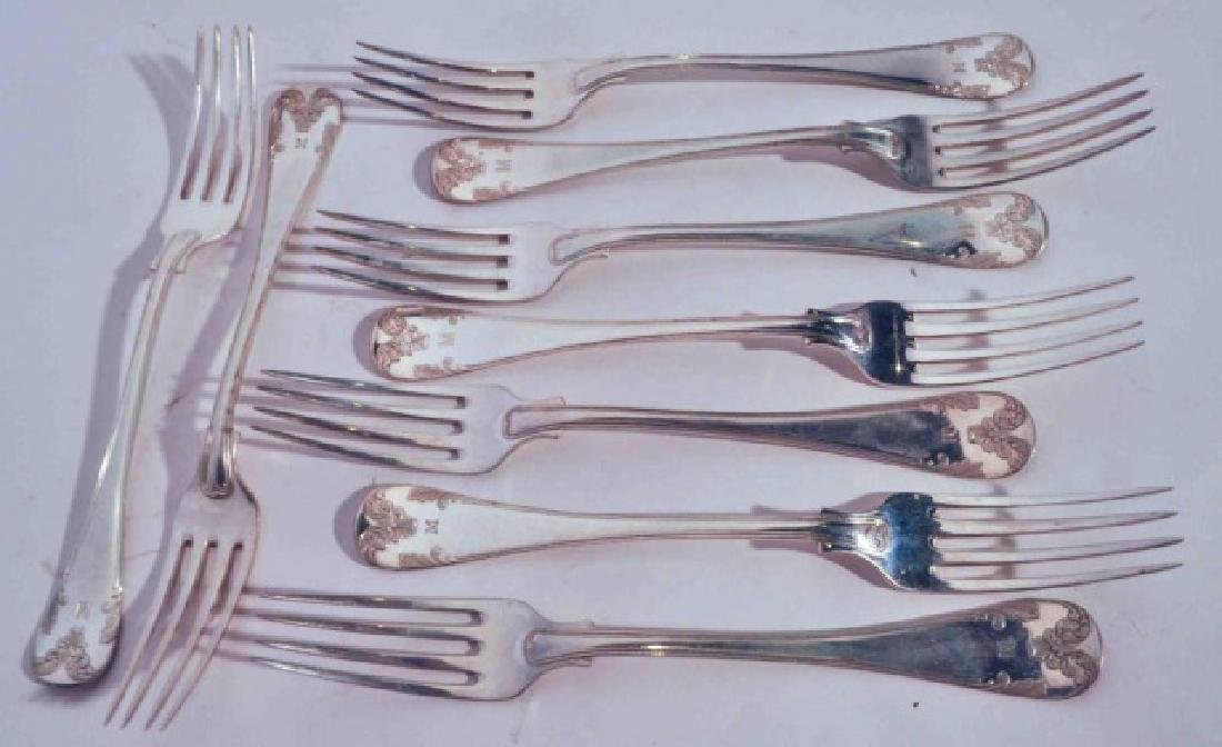 Set of 9 Swedish Antique Silver Dinner Forks