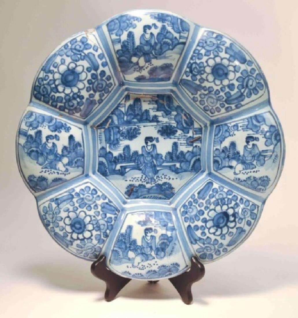 17th Century German Faience Blue Lobed Dish