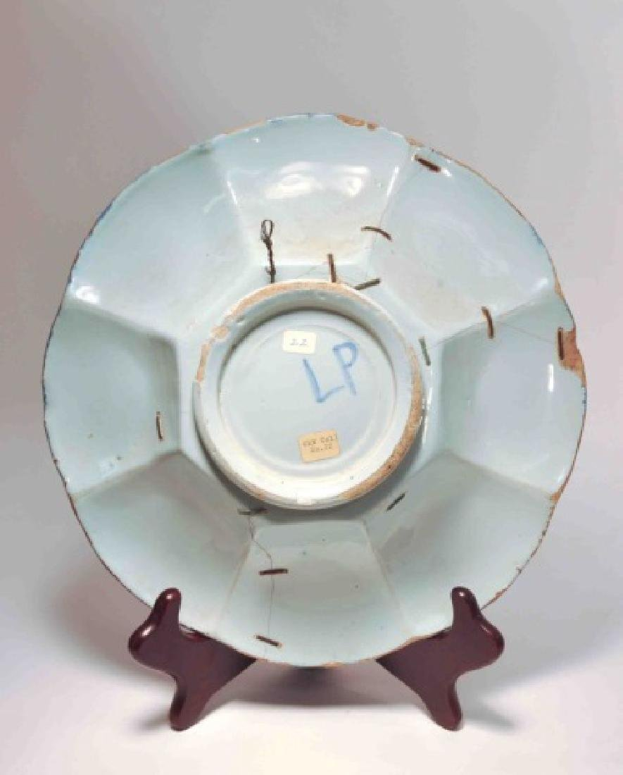 17th Century German Faience Blue Lobed Dish - 2