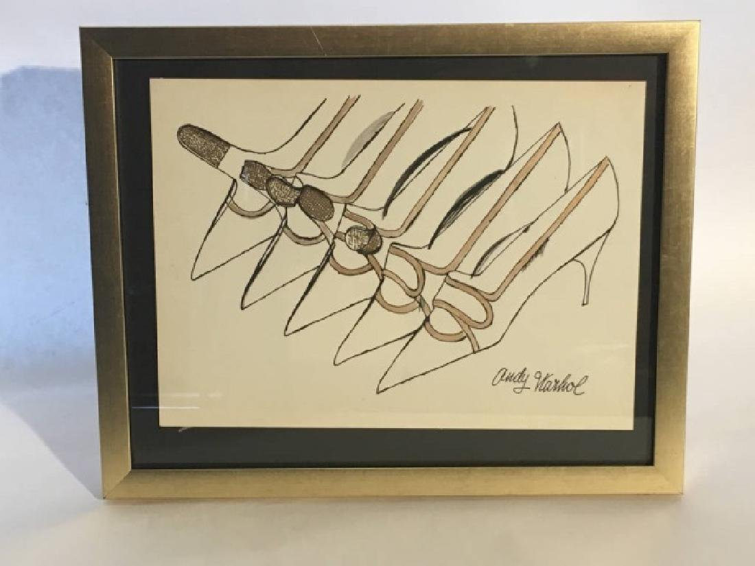 "Original Signed ""Andy Warhol"" Drawing ''Shoes''"