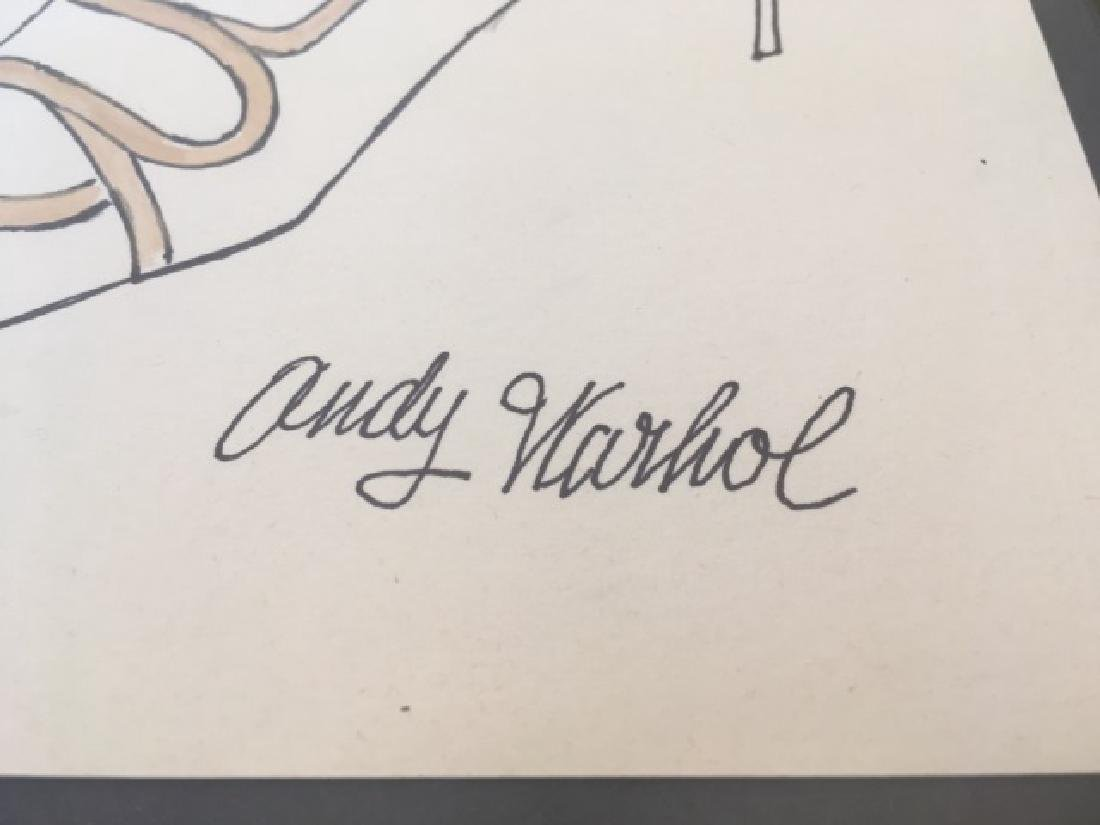 """Original Signed """"Andy Warhol"""" Drawing ''Shoes'' - 2"""
