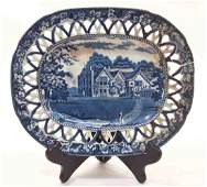 Rare E. Wood & Sons Reticulated Pierced Blue Plate