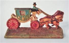 Hubley Antique Cast Iron Doorstop Horse  Carriage