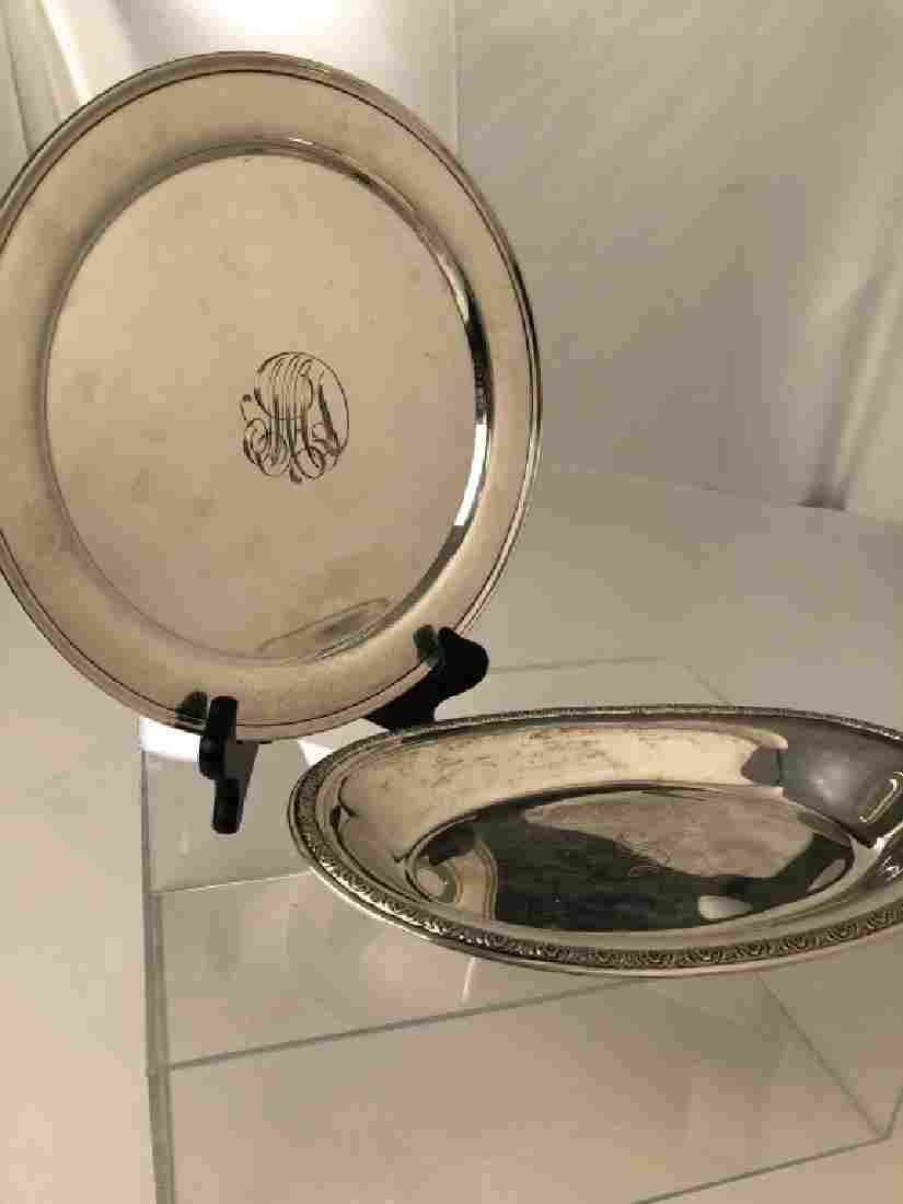 Two Sterling Silver Marked Serving Platters