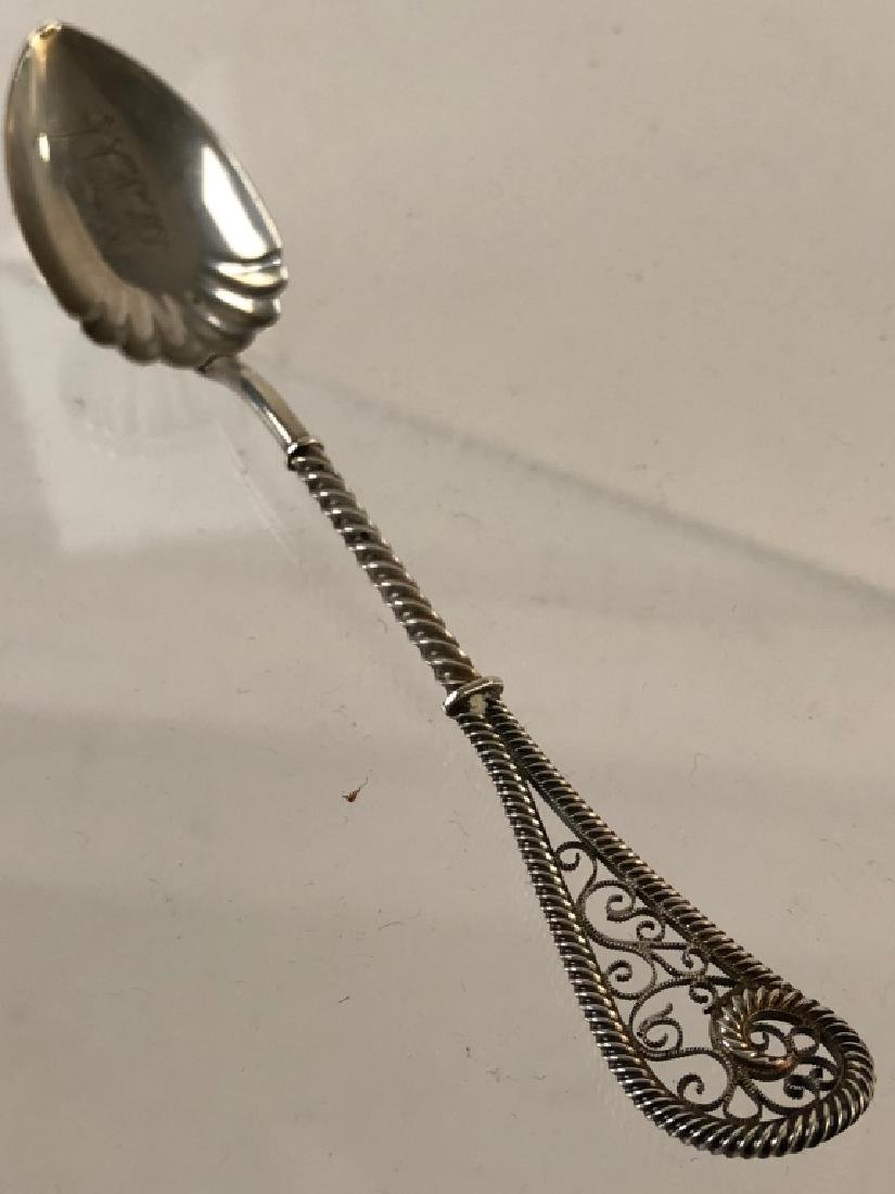Unusual Sterling Silver Filigreed Serving Spoon