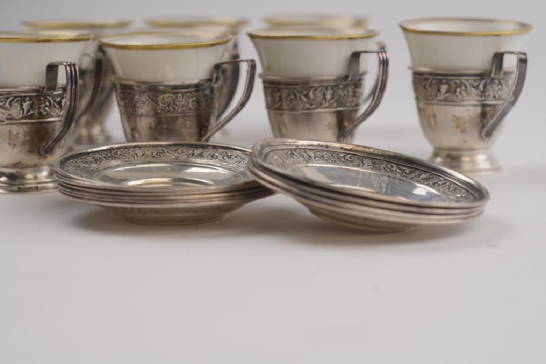 Set of 10 Demitasse Porcelain Sterling Cup/Saucer