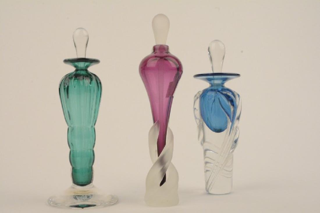 Lot of 3 Signed  Colored Art Glass Perfume Bottles