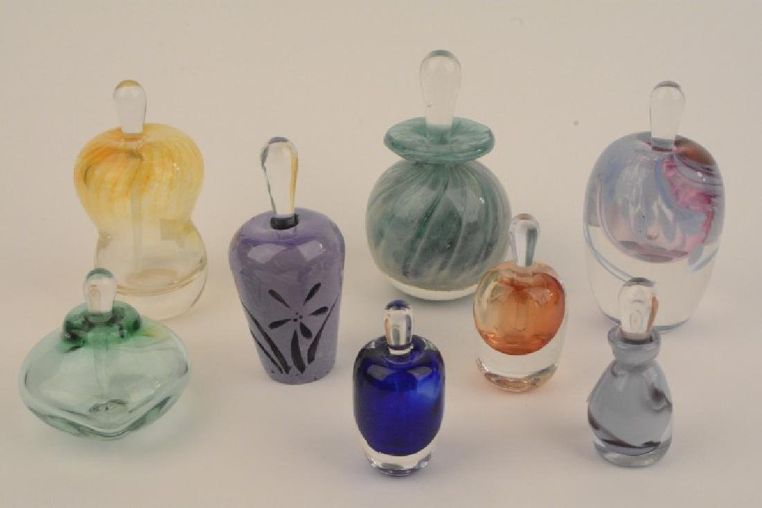 Set of 8 Signed HandBlown ArtGlass Perfume Bottles