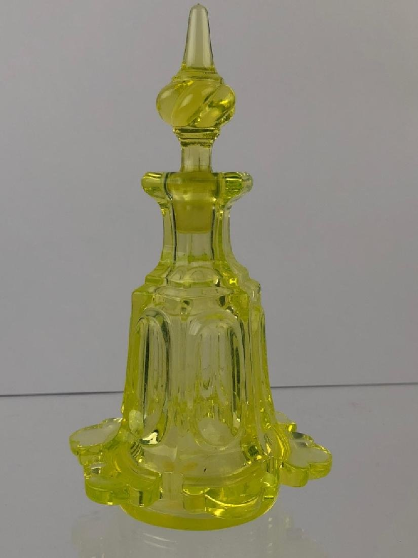 Canary Yellow Blown Molded Perfume Bottle wStopper