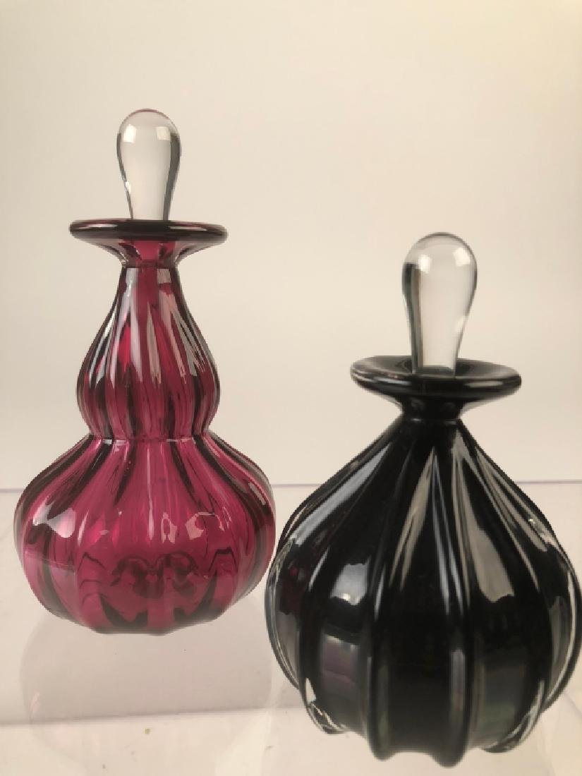 2 Roff Signed Art Glass Perfume Bottles