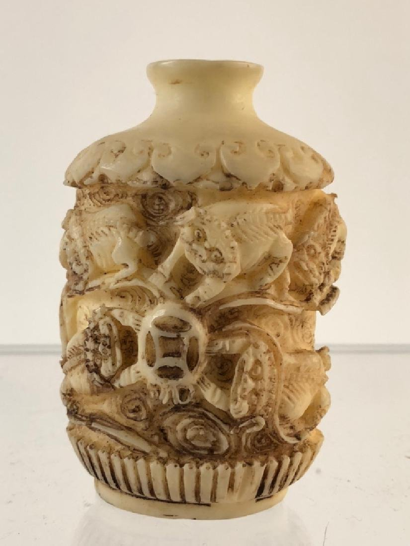 Antique Asian Snuff Bottle with Bone Overlay