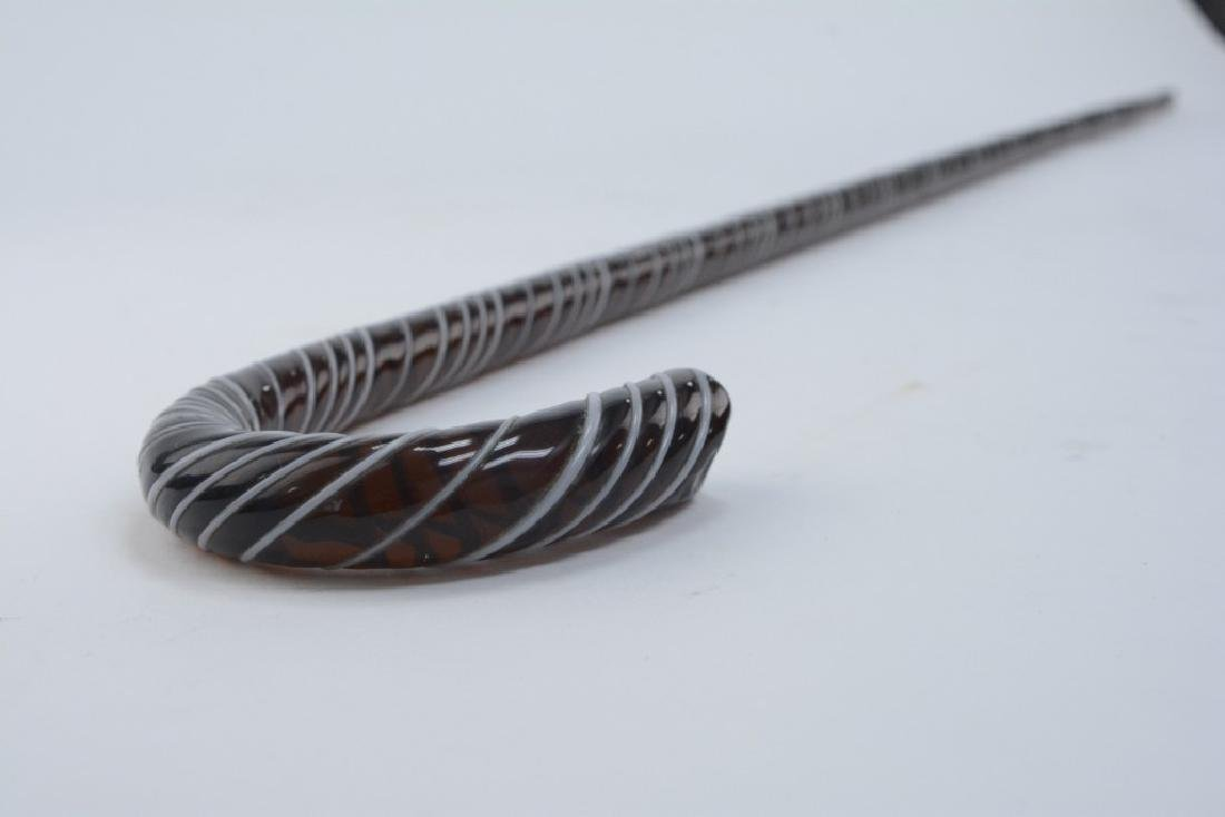 Victorian Amber Glass White Threaded  Glass Cane