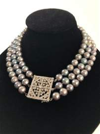 3 Strand Grey Pearls w/ Fabulous Diamond Clasp