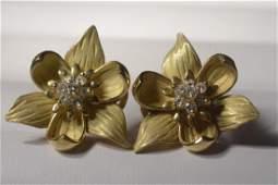Pair 18k Yellow Gold Diamond Flower Earrings