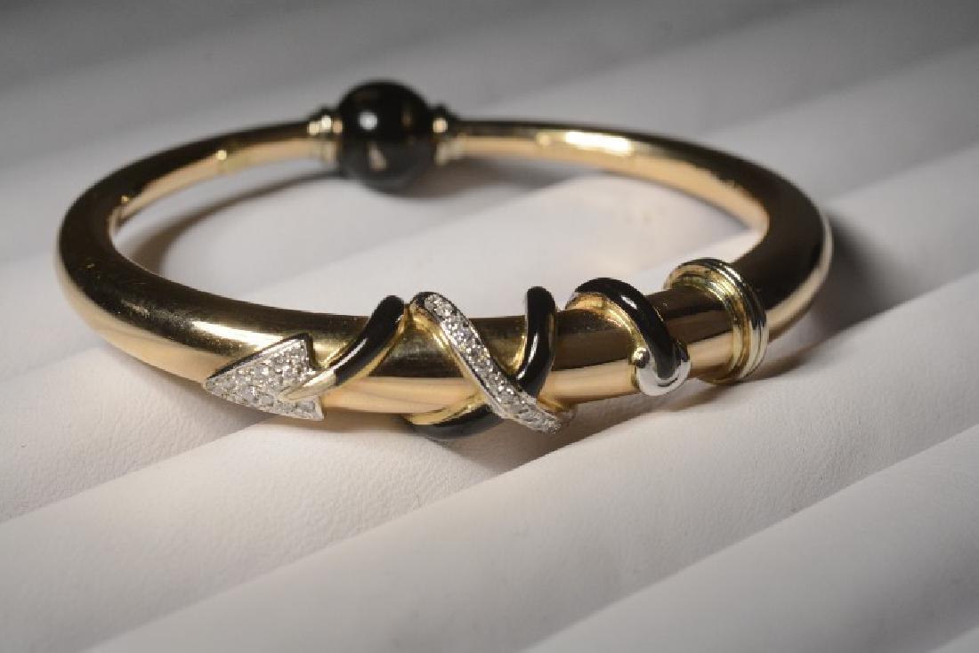 La Nouvelle Bague 18k Diamond & Bl. Enamel Braclet