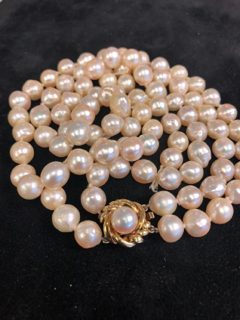 Baroque Double Strand Pearls w/ 14k Gold Clasp