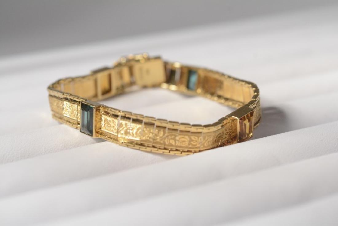 Antique 18k Gold Bracelet w/ Tourmaline/Emerald