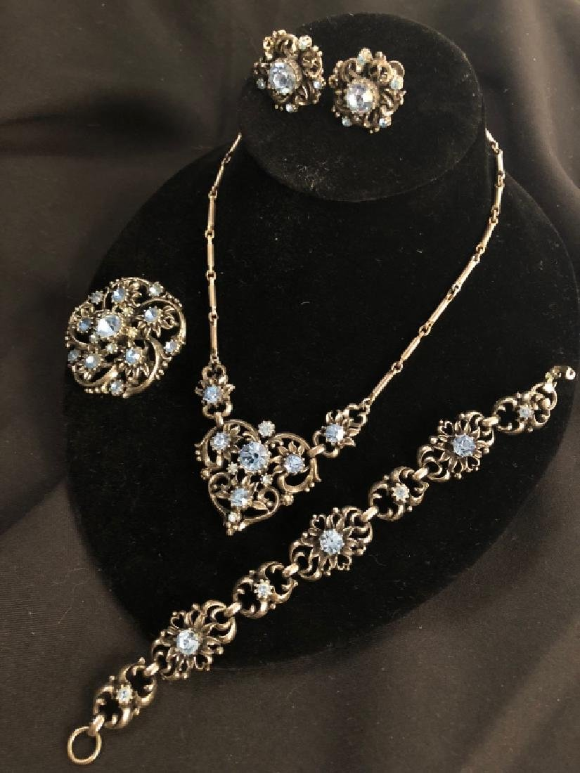1940's Vintage Coro Blue Stone 4pc. Jewelry Set