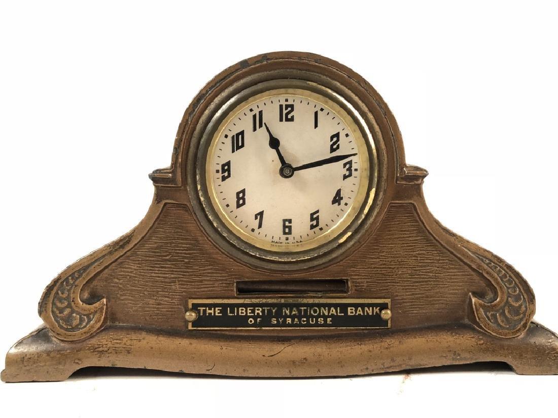 Vintage Cast Metal Promotional Clock & Coin Bank