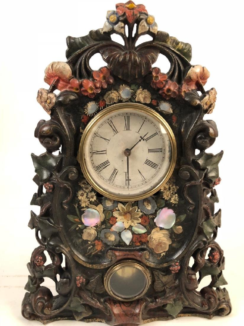 Antique Cast Iron Clock w Mother of Pearl Inlay