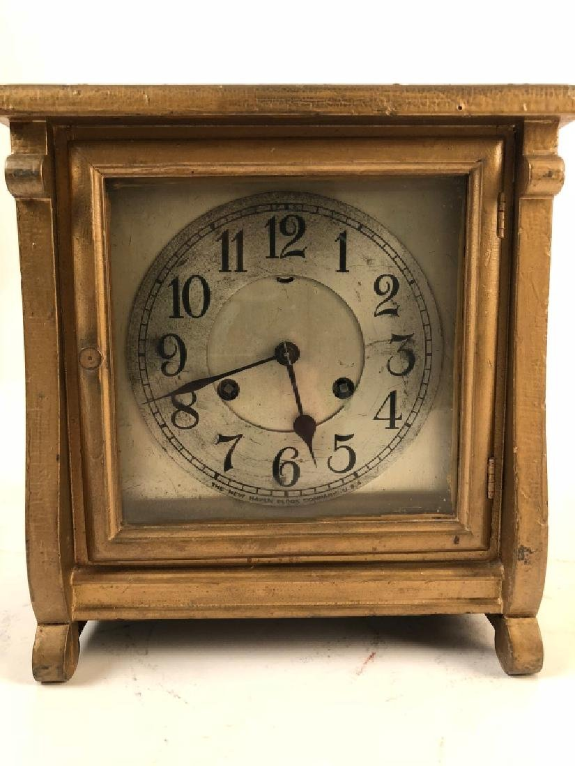 Square New Haven Gold Painted Shelf Clock