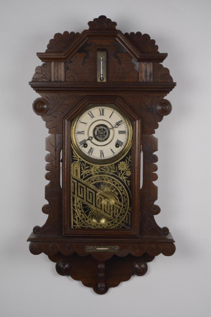 1880's German Carved Mahog. Wall Clock Thermometer