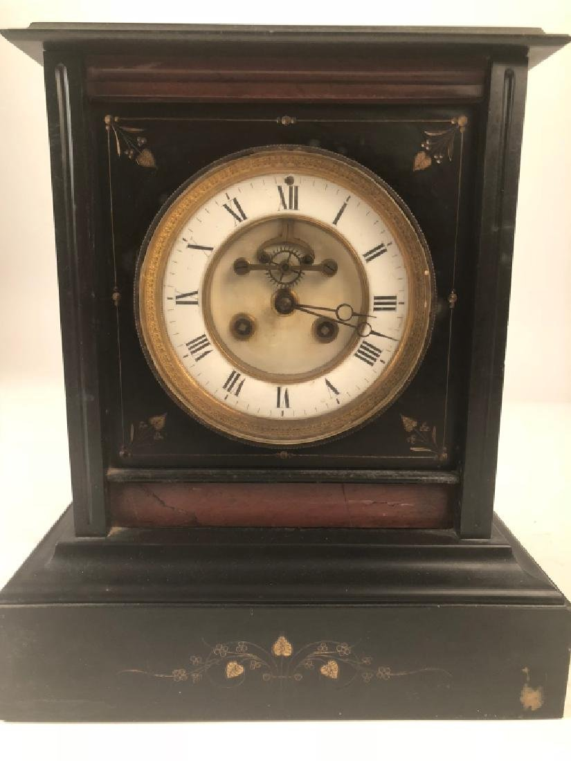 Square Black w/ Red Accent Marble Mantle Clock