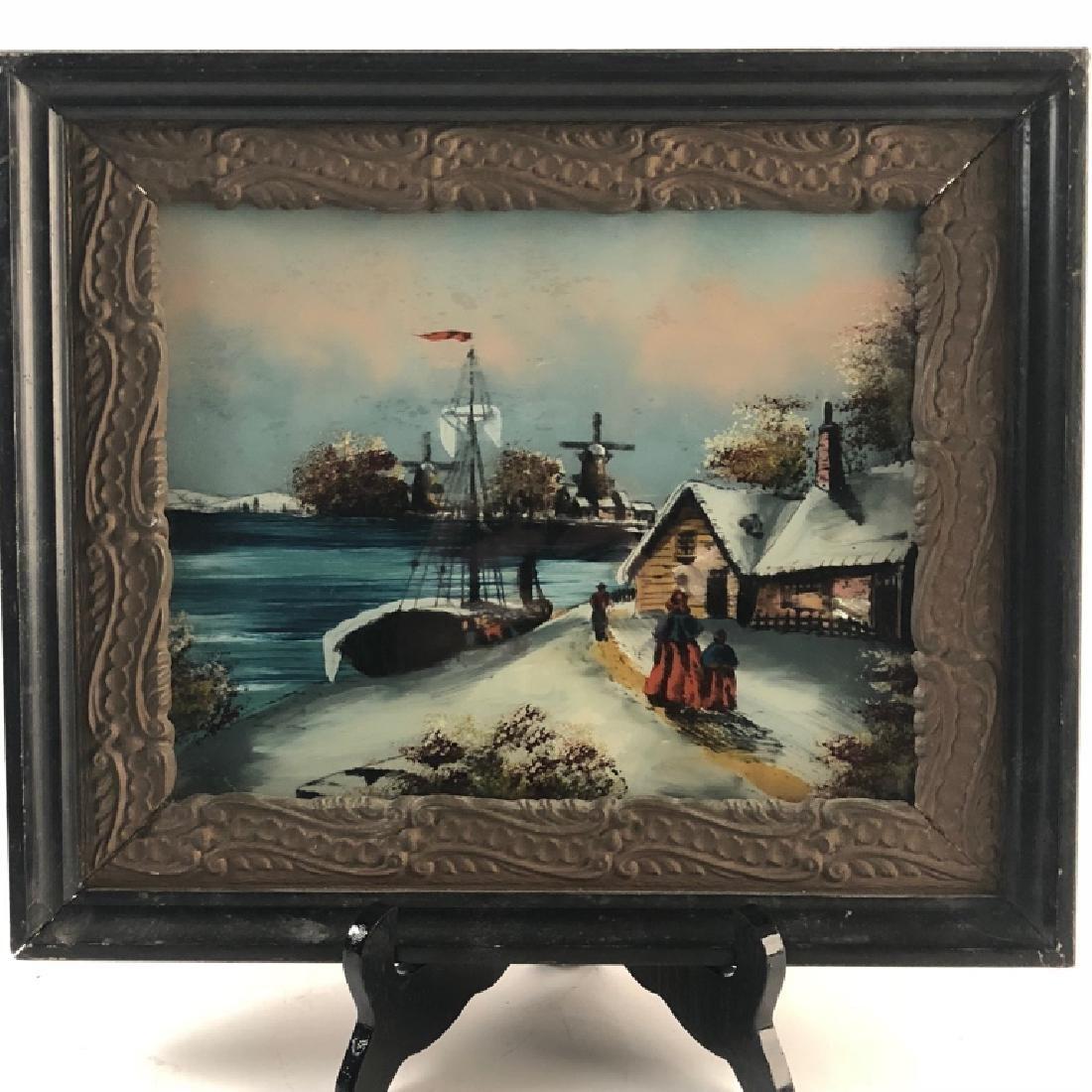 Antique Reverse Glass  Painting Winter Lake Scene