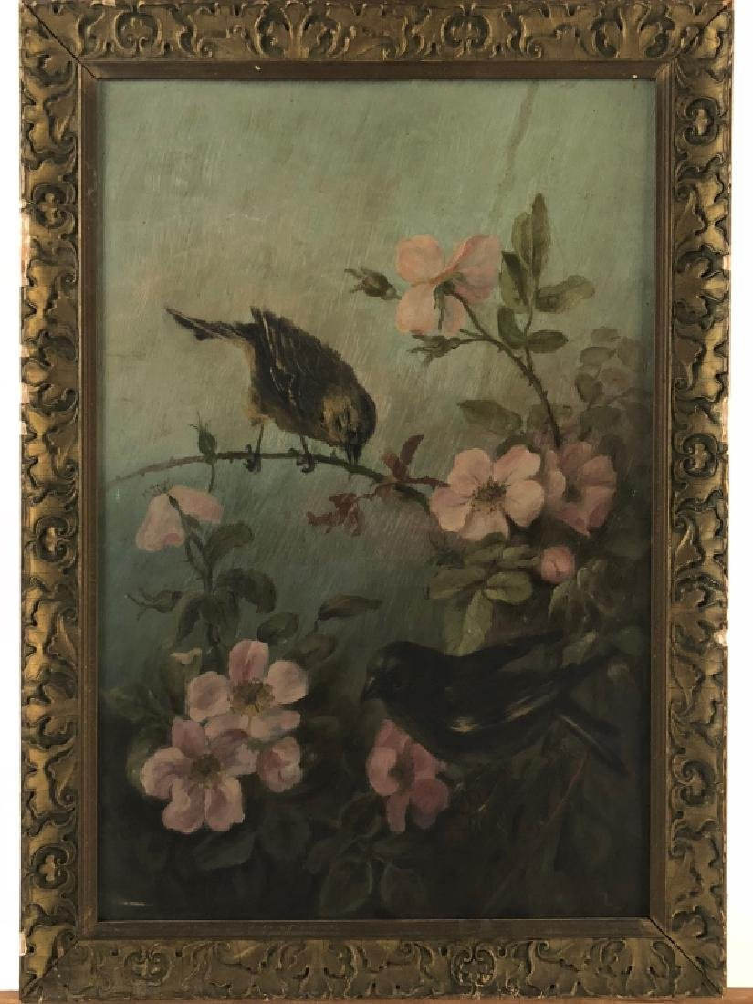 Antique Oil Painting of Bird on Flowering Branch