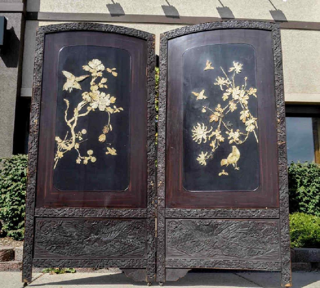 Rare Asian Hand Carved Double Panel Floor Screen