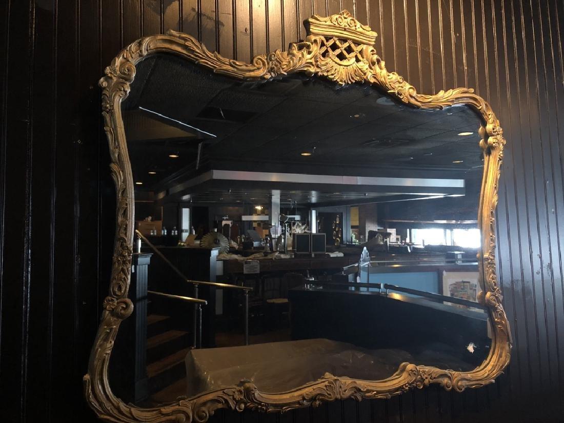 Lg. Rectang. Gold GIlt Framed Mirror w/ Regal Top