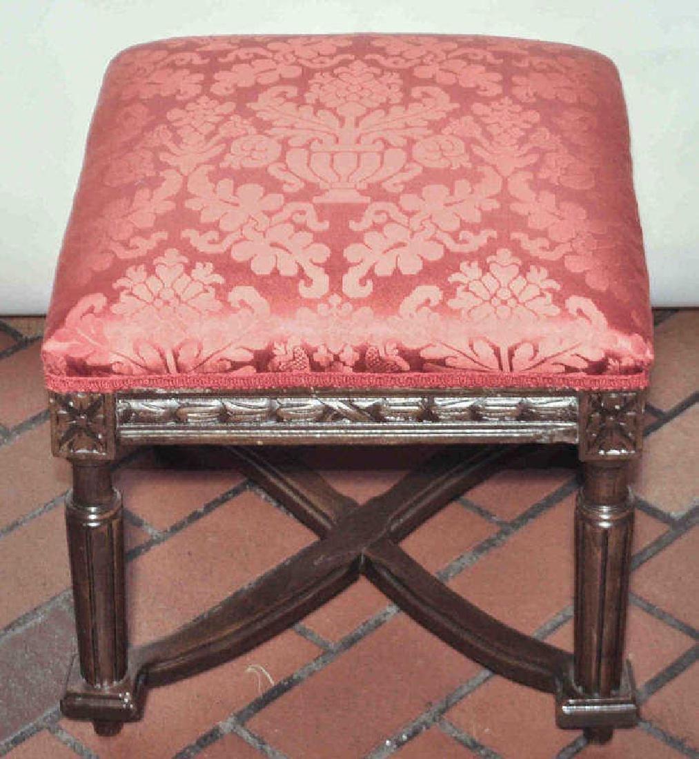 Walnut & Scalamadre Upholstered Ottoman