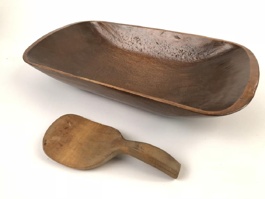 Vintage Hand Carved Dough Bowl and Wooden Paddle