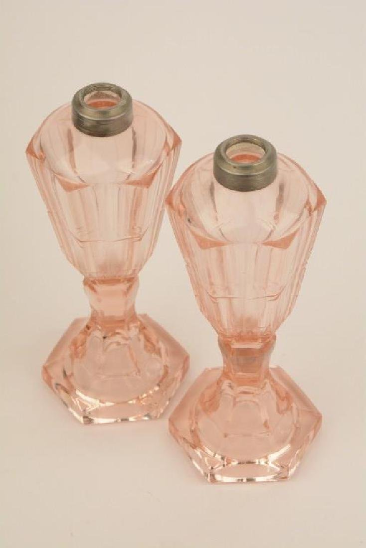 Rare Pair of Pink Depression Glass Whale Oil Lamps