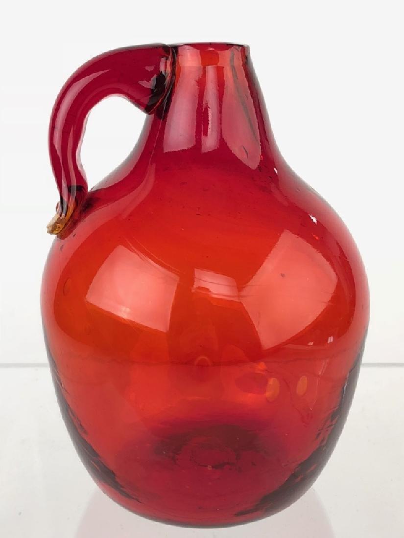 Hand Blown Ruby Red Glass Mini Demijohn Jug
