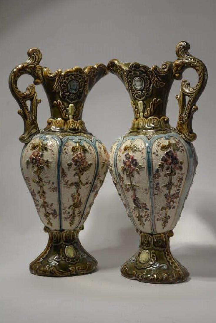 Antique Pair of Large Majolica Pitchers