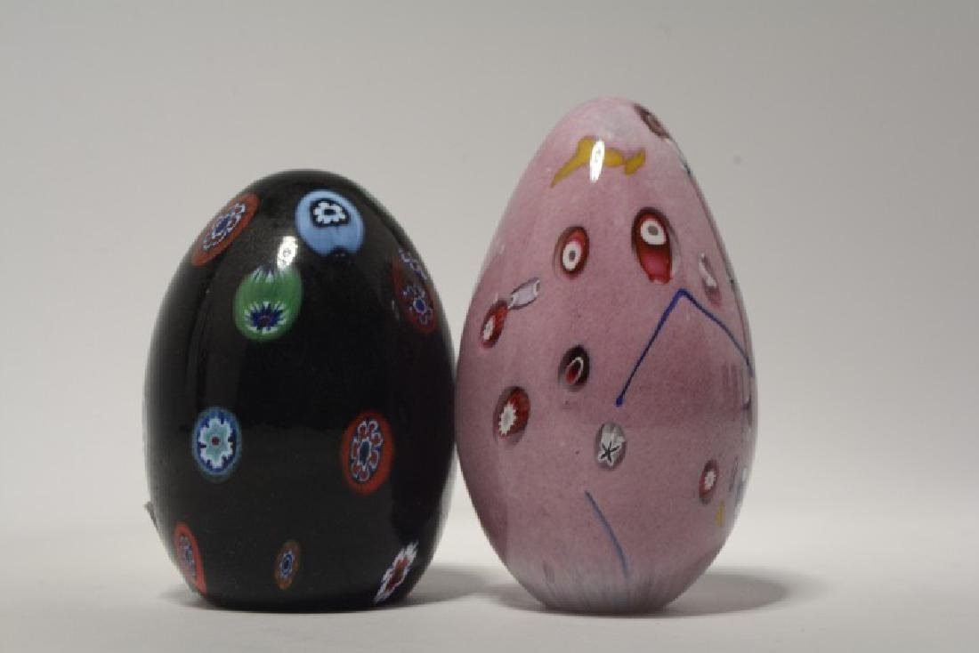 Two Murano Millefiore Art Glass Egg Paperweights