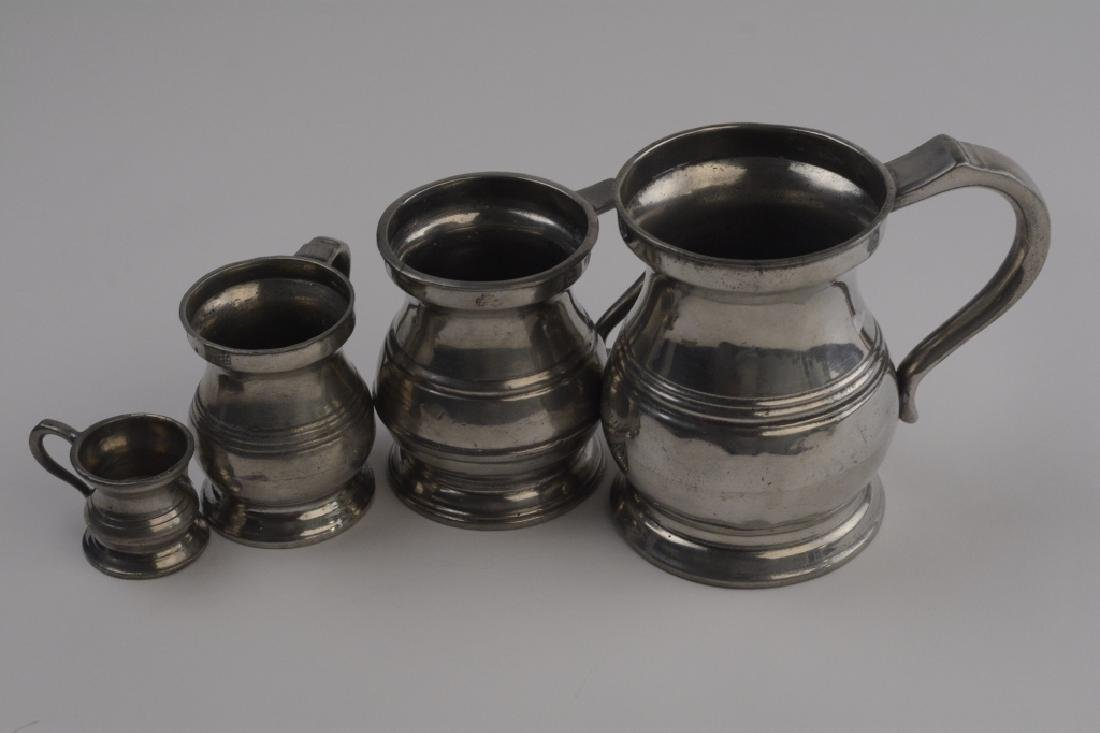 Set of 4 Graduated Sized Rare Pewter Tankards
