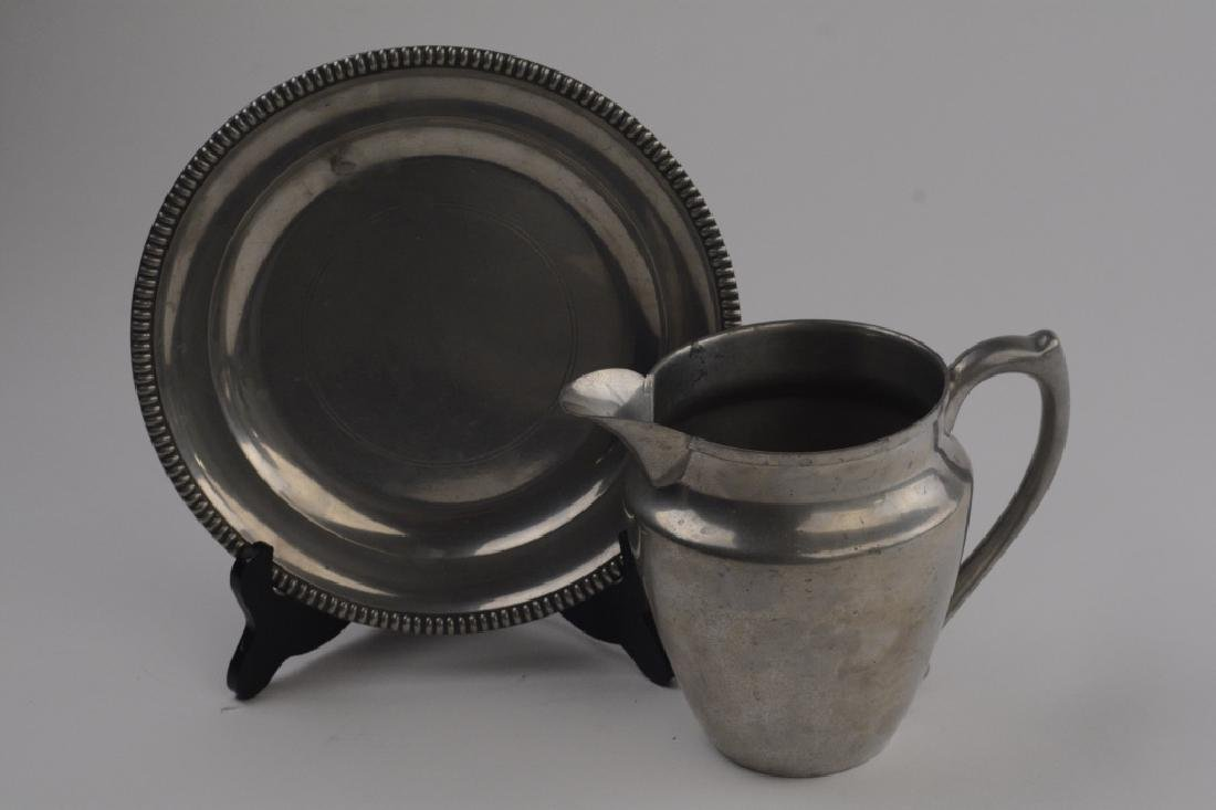 Pewter Pitcher and Dinner Plate