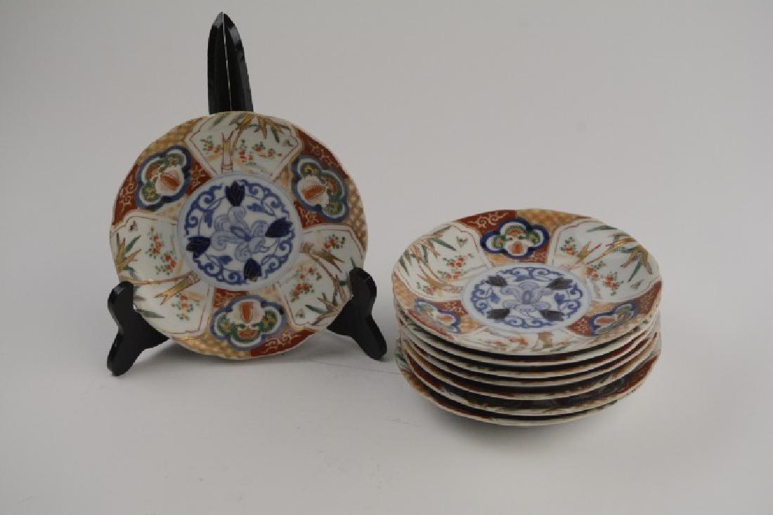 """Set of 8 Antique Imari Handpainted 6-3/4"""" Plates"""