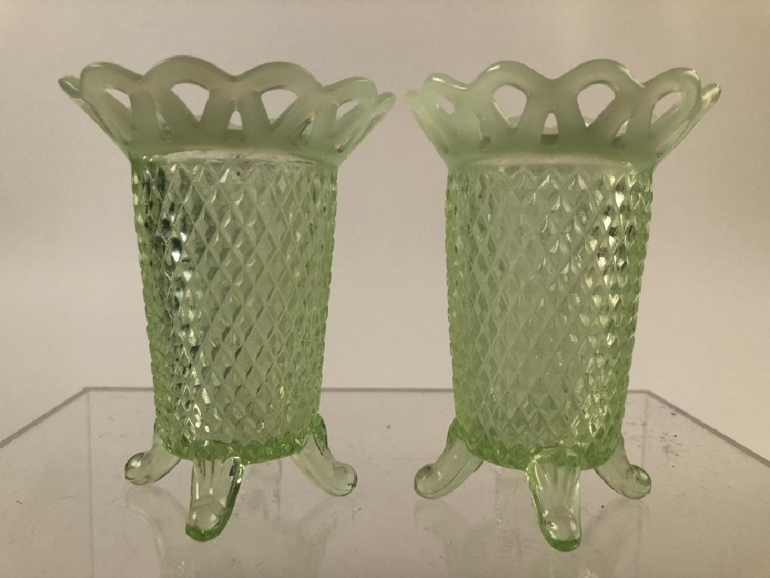 Pair of Opalescent Vasoline Glass Vases