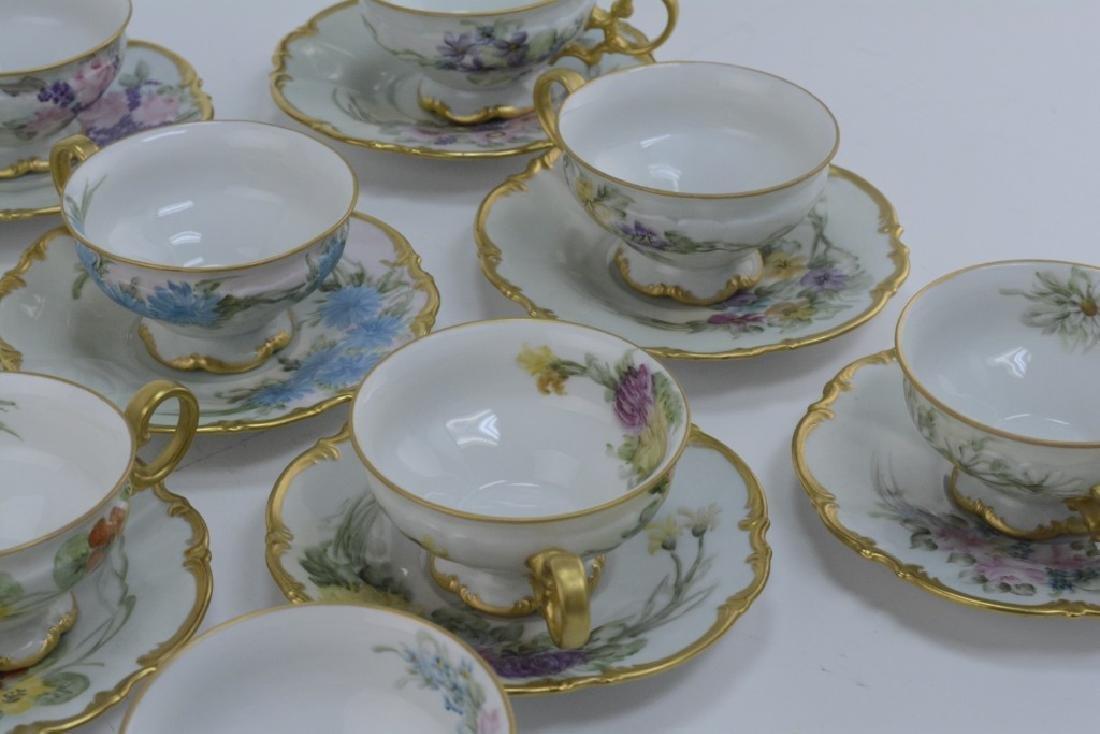 Set of 12 Bavarian Handpainted Tea Cups & Saucers