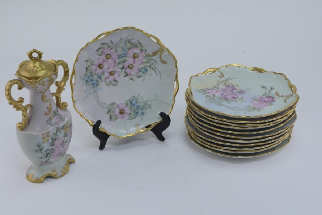 Set of 12 Lovely Handpainted LuncheonPlates w/ Urn
