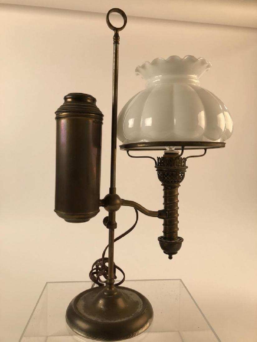 Brass Student Lamp w/ White Glass Shade