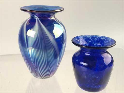 Vintage Blue Iridescent Vase Cobalt Blue Vase